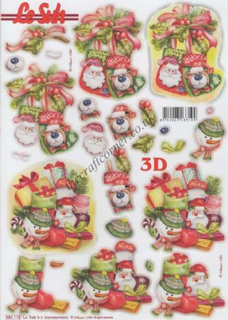Christmas Stockings & Presents Die Cut 3d Decoupage Sheet